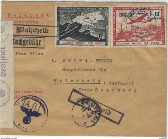 732 001 1944 enveloppe affr dallay 4 et 5 legion des volontaires francais oblit warschau c censure allemande