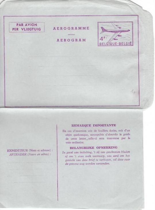 Aerogramme belgique