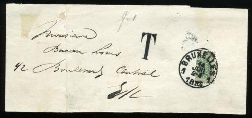 Lettre de belgique avec 10c taxe vert 1870 coupe en deux