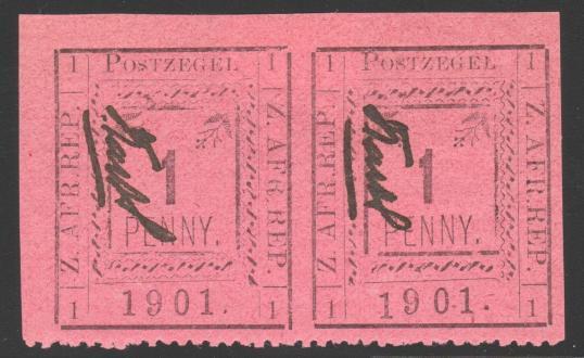 Pietersburg 1d unused pair type1 with variety