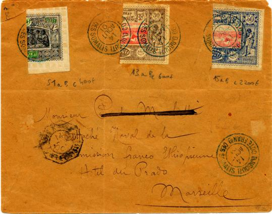 Timbres coupes djibouti 1901